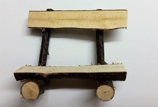 Holzblock-Bank mit Lehne